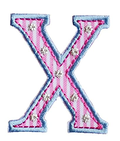 X Pink Blue ABC letter 9cm big for names crafts jeans clothing fabric to iron on dresses cap jacket neckerchief ceiling flag pants plate backpack trousers cushion scarf bunting bag hat door hat skirt to personalise gifts for diy nursery christening arts personally boy embroidered sports football baby baptism club city girl personalized decoration personal application mend wall applique personalise arts sewing decorating wall personalise idea idea iron on patches creative craft sew on