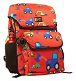AARYA LONDON Kinderrucksack mit abnehmbarer Brotdose I Kindergartenrucksack I Süße & robuste Kindergartentasche Design Bagger - 7.5 l, rot (Bulldozer)