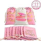 AerWo, 10 sacchetti regalo per damigella d'onore + 1 sacchetto per sposa, bomboniere per addio al nubilato e feste, con coulisse in cotone