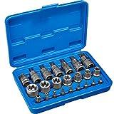TecTake Steckschlüsselsatz Torx | Steckschlüssel mit Kodierung und Kugelfangrille| inkl. Koffer - verschiedene Modelle (Typ 1 | Nr. 402684)
