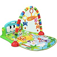 Early Education Activity Gym Play Mat Toy with Piano Playmat with Light and Sound Learning Carpet with Rattles for Newborn & 0 Month Old Baby Boys and Girls