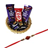 #9: SFU Com Rakhi With Chocolates (2 Pcs Dairy Milk, Kitkat, 5 Pcs Eclairs , Rakhi, Roli, Chawal, Chandan, Misri)
