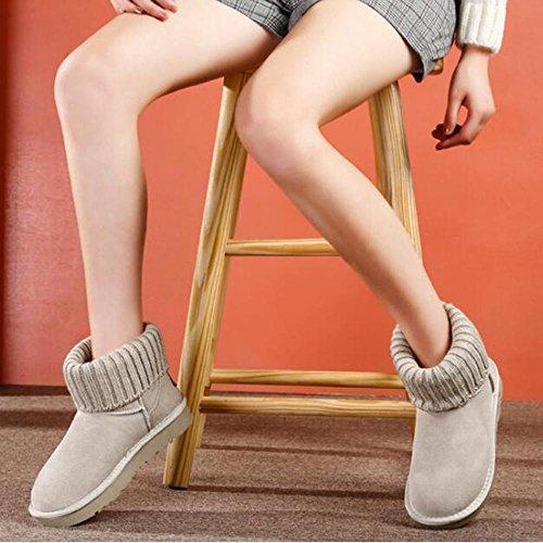 pedale tubini a di color XUEDIXUE Stivali più imbottite velluto marrone grigio scolastici TT invernali short scarpe di sand femminili sabbia neve cotone scarpe da pane HqxUFCY