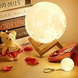 Moon 3D berühren Lampe, Nachtlampe kreative Lampe Nachtlicht Geschenk Art-Deco-Haus für Wohnzimmer Büro mit USB (12CM)