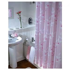Moderner designer rideau de douche textile-modèle: couleur or rose - 180 x 200 cm-couleur: rose/blanc/rouge motif blumenmotive- ourlet avec des anneaux en plastique assortie