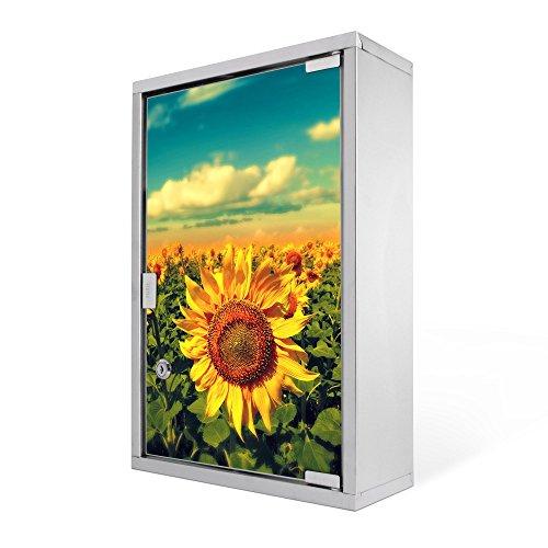 #Medizinschrank groß Edelstahl abschliessbar 30x45x12cm Arzneischrank Medikamentenschrank Hausapotheke Erste Hilfe Schrank Motiv Sonnenblumen#