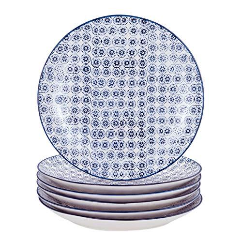 Nicola Spring Grandes Assiettes Fantaisie - 255 mm (10 Pouces) avec Motifs imprimés de Fleurs Bleues - Boîte de 6