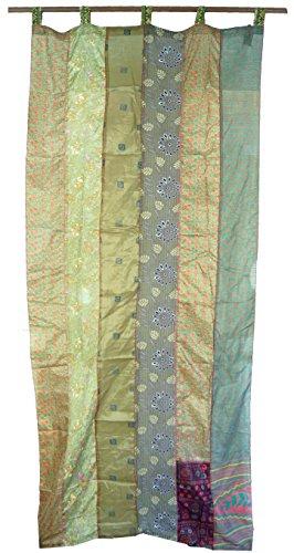 Guru-Shop Vorhang (1 Stk.) Gardine aus Patchwork Sareestoff - Grün, Synthetisch, 240x100 cm, Dekovorhänge