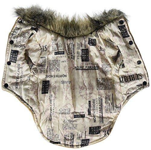 Pet Cat Dog Clothes European Woolen Fur Collar Coat Small Dog Cat Pet Clothes Costume Beige M 2
