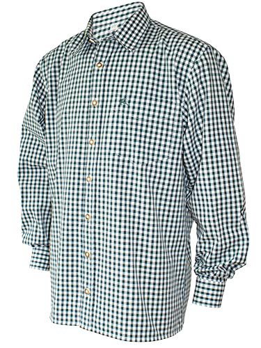 S-6XL 37-54cm Trachtenhemd Karo-Hemd Trachten-Pfoadl Karohemd grün kariert Jagd, Größe:XL = 43/44