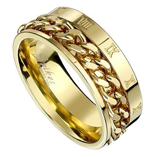 Piersando Herren Band Ring Ketten Style Spinner mit Römischen Zeichen Herrenring Edelstahlring Bandring Größe 58 (18.5)   Gold
