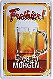 Freibier gibt´s morgen Bier Bar 20x30 cm Blechschild 701
