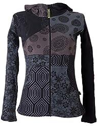Vishes – Alternative Bekleidung – Kurze, leichte Patchworkjacke aus Baumwolle mit Kapuze