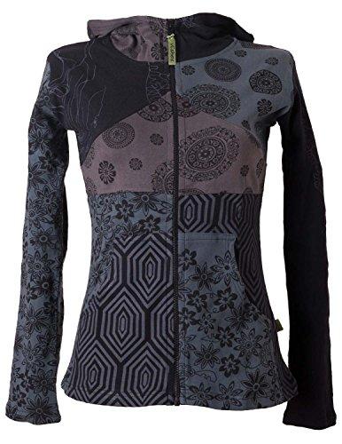Vishes - Alternative Bekleidung - Kurze, leichte Patchworkjacke aus Baumwolle mit Kapuze schwarz-grau 40/42