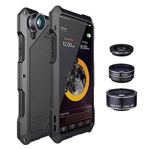 Saingace(TM) Hülle für Iphone X mit Gehärteter Film und Spezialeffektlinse, Dünn Schutzhülle Metall Handyhülle Kratzfest Stoßfest Case Cover Anti-Rutsch Anti-Scratch Hülle für Iphone X