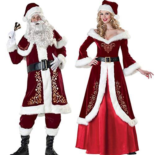 Für Deluxe Frauen Erwachsene Kostüm - FAFY Frauen/Herren Deluxe Santa Suit-Christmas Ultra Velvet Erwachsene Weihnachtsmann Kostüm Cosplay,Men-XXXXXL