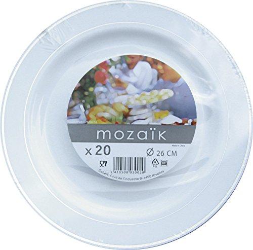 MOZAIK 20 White Silver Rim Plastic Plates 26cm  sc 1 st  min-skas! & MOZAIK 20 White Silver Rim Plastic Plates 26cm: min-skas