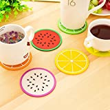 #7: Set of 4 Cute Creative Beautiful Attractive Multipurpose Jelly Style Texture Anti Skid Heat Resistant Circular Round Fruit Silicone Coasters Placemats Tabelware Dining Table for Home Office (2 Lemon + 2 Watermelon)