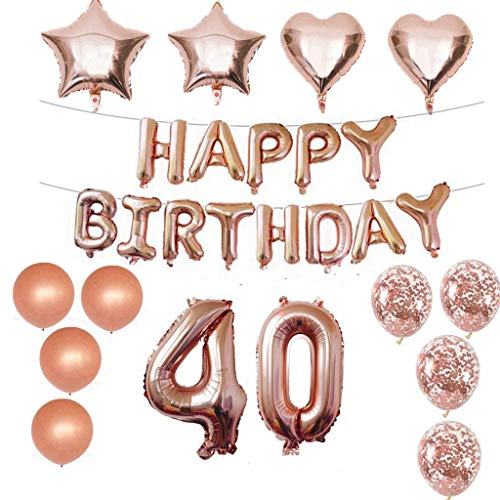 Crazy-M 40 Geburtstag Dekorationen Kit Folienballon 40 Geburtstag Dekorationen Rosegold für Mädchen Birthday Party Supplies Alles Gute zum Geburtstag Konfetti Happy Birthday 40 Buchstaben Banner, (Party Für Geburtstag 40. Supplies)