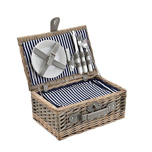 [casa.pro]® Picknickkorb für 2 Personen - Picknick-Set mit Kühltasche inkl. Geschirr, Besteck, Korkenzieher und Gläser (blau-weiß)
