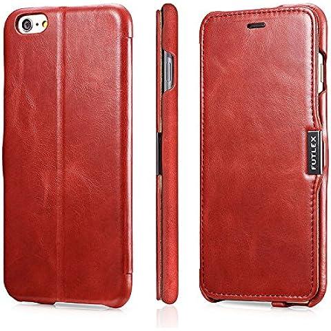 Funda tipo folio FUTLEX de piel auténtica estilo vintage para iPhone 6 Plus / 6S Plus - Rojo – Diseño único – Ultra fina - Corte y diseño precisos – Hecha a