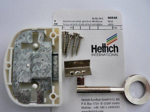 Hettich Aufschraubschloß mit Schlüssel gleichschließend weiß, Dornmaß: 20 mm, 1 Stück, Artikelnr. 548