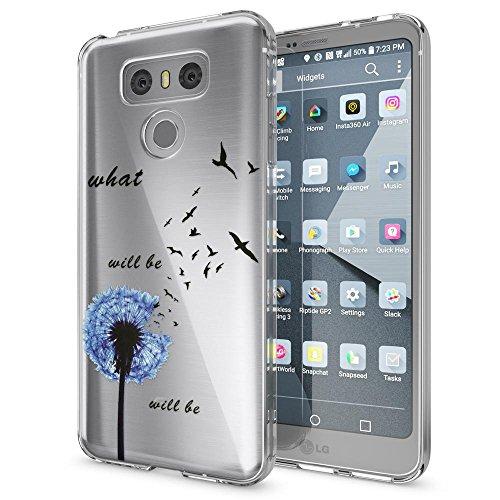 NALIA Handyhülle kompatibel mit LG G6, Motiv Design Ultra-Slim Silikon Case Cover, Crystal Schutzhülle Handy-Tasche Dünn, Muster Etui Backcover Hülle Smart-Phone Bumper, Designs:Dandelion Blau
