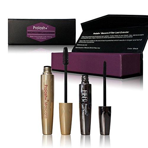 Prolash Mascara & Fiber Lash Extender (Booster) Set für Wimpernverlängerung Wimpernverdichtung für volle Wimpern (Wimpern-extender)