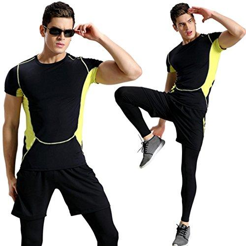 Fitness Athletic Quick Dry 3 pezzi Set di abbigliamento Uomo T-shirt manica corta Pantaloncini pantaloni sportivi stretti #2