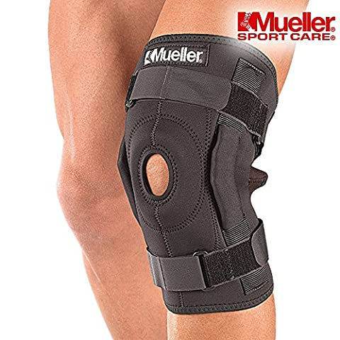 Knee Brace Support Mueller Hinged Wraparound Patella Knee Strap Brace for Skiing, Arthritic Knees, Weight Lifting and Running - Orthotic Support for Men or Woman in Black (Large)
