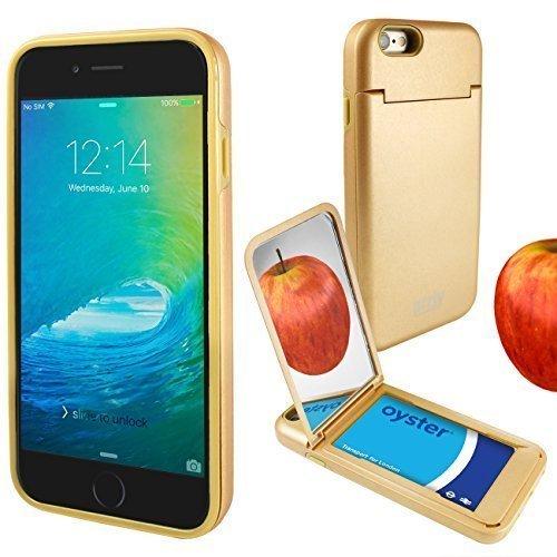 """Orzly® """"On the Move"""" Case - ROSA für das iPhone 6S (2015) & iPhone 6 (2014) – Schalgschuetzende- Doppelschicht Hartcover & -Gehaeuse mit integriertem Gestell, Kreditkarten-Halter & Taschenspiegel GOLD für iPhone 6 & iPhone 6S"""