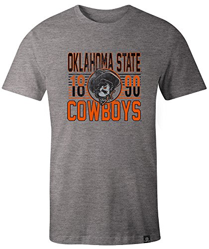 Image One NCAA Retro gestapelt Everyday Short Sleeve T-Shirt, Unisex - Erwachsene, Retro Stacked, HeatherGrey, Large Oklahoma State University Basketball