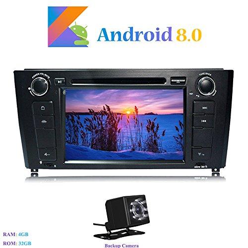 Android 8.0 Autoradio, Hi-azul in-Dash 1 Din 7 Pouces Car Radio 8-Core 64Bit RAM 4G ROM 32G Car Audio Stéréo Voiture pour BMW 1 Series E81/E82/E88 (2004-2010) (avec Caméra de Recul)