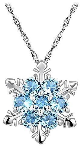 LUXURY - Damenkette mit Amhänger Modell FIOCCO DI NEVE mit österreichischen Kristallwaren. Geschenkidee zum Valentinstag, (18k Oro Bianco Della Collana Di Diamante Solitario)