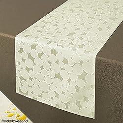 Mantel Camino de mesa fundas de cojín almohada–Serie rom/Círculos/EN diferentes tamaños y colores, poliéster, beige-ecru, 40 x 140 cm