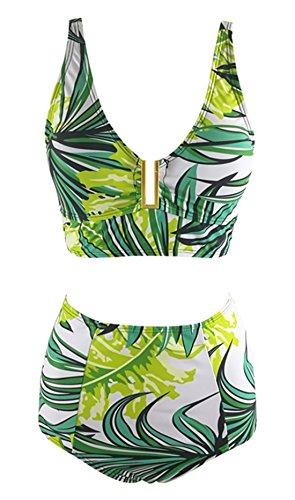 Azue Damen 2 Teile Bademode Groß Größe Sexy Bikini Set Oversize Badeanzug Hohe Taille Neckholder Schwimmanzug Grün Gras M: 42