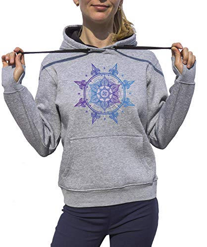 KrisTalas Sudadera con Capucha Mujer Mandala Star Mandala Purple Mandala Sun Salutation Yoga Clothing Meditation Clothing Om Lotus Gris Large