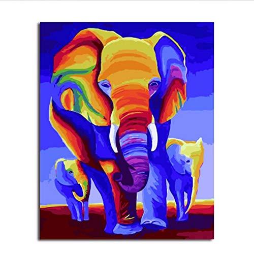 Waofe Cuadro Enmarcado Pintura Y Caligrafía De Animales Loely Elefantes Pintura De...