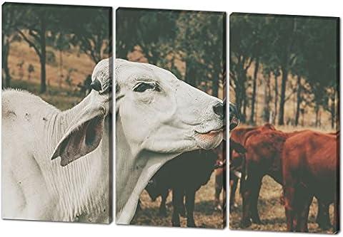 Die glückliche Kuh, schönes und hochwertiges Leinwandbild zum Aufhängen in XXL - 3 Teiler mit 120cm x 80cm, echter Holzrahmen, effektiver Pigmentdruck, modernes Design für Ihr Büro oder (Feld 48 Tor)
