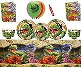 Fournitures de fête pour Les Dinosaures Joyeux Anniversaire de Dino Blast 16 invités - Vaisselle de Dinosaure Ballons en Latex imprimés