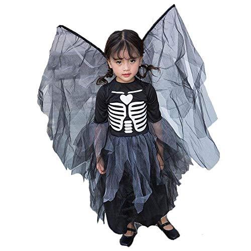 ZYJT Halloween Dame Mädchen Halloween Gruselig Kostüm Schwarz Kleid Gruselig Kind Geschenk Kostüm Party Dekoration (Color : Black, Size : S)