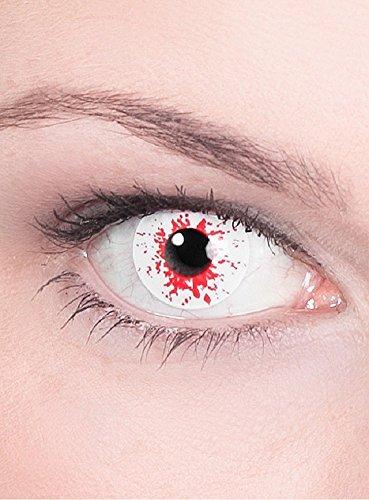 Halloween Karneval Party Motiv farbige Linsen Kontaktlinsen Infizierter weiss rot 1 - Monatslinsen ohne Stärke für Frauen und (Linsen Billig Kontakt)