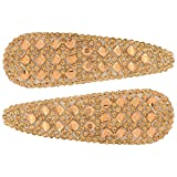 #9: Gold Designer tic tac (large size) Hair Clips for girls and women (set of 2 clips)