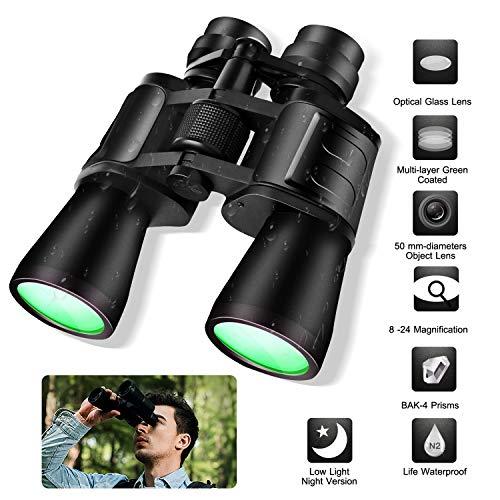 Fernglas, TeqHome Portable Zoom-Fernglas mit BAK4-Prisma Großes Feldobjektiv Kompaktes 24X50 HD-Fernglas für Vogelbeobachtung Sportspiel Wasserdicht für Klettern Wandern Jagdreisen