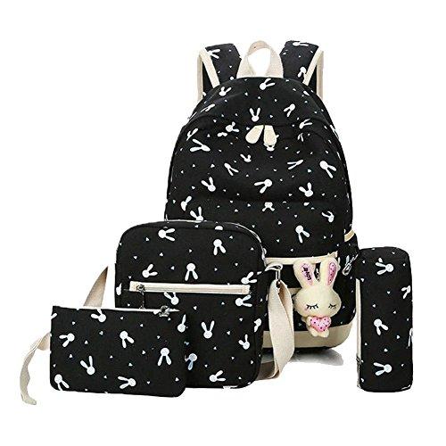 YiLianDa Zaino Scuola Ragazze Adolescenti Canvas Backpack Zaino Spalla Viaggio Daypacks 4pcs Nero