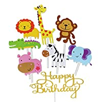 Jatidne 30pcs Jungle Animal Cupcake Toppers for Kids Party Decoration Baby Shower Birthday Safari Cake Toppers