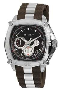 Jet Set - J29669-762 - Monza - Montre Homme - Quartz Chronographe - Cadran Noir - Bracelet Caoutchouc Marron