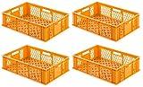 VE (4 Stk.) Gastronomie Stapelkiste Euro-Maß, 600x400x130 mm (LxBxH), Wände und Boden offen, mit Grifföffnungen, lebensmittelecht aus HD-PE (gelb-orange)