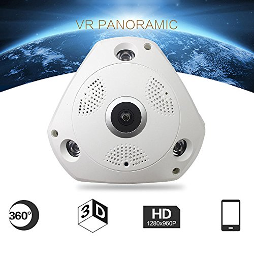 kingko 360 ° Panorama Wireless Home Security Überwachung IP Kamera Audio Video WiFi Die 360 ° Panorama Wireless IP Kamera mit High Definition: 3.0MP: 2048x1536 30fps. (Weiß)