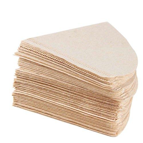 Masterein 100PCS Kaffeefilterpapiere aus Holz Drip Papier Kegel-Form-Kaffee Werkzeuge ungebleichten...